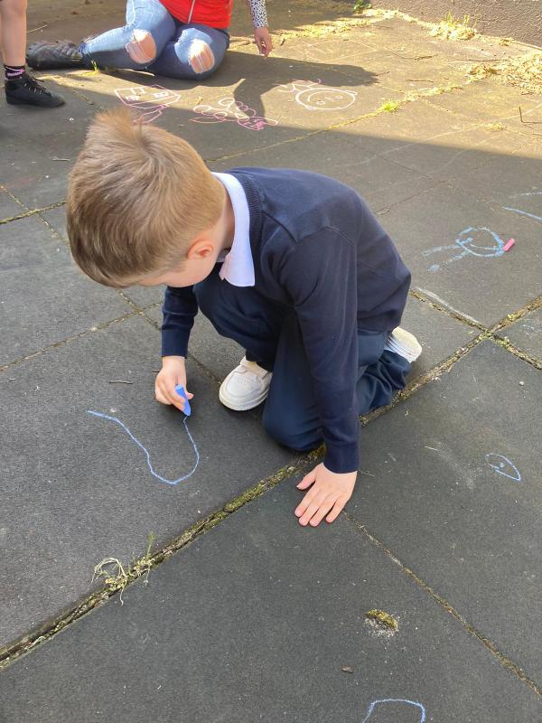 Getting creative with chalk.