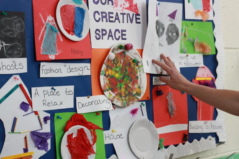 Ms. Naughter's class were busy creating their classroom Creative Space!