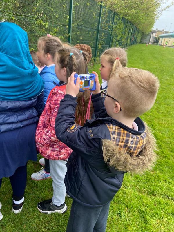 Children documenting their own adventures in the school gardens.
