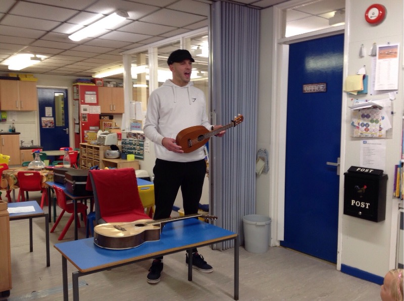Marty brought us 2 instruments to listen to - a guitar and a ukulele.