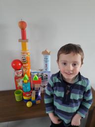 Joshua built a 3D shape castle.