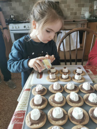 Zara making yummy treats as part of the play challenge.