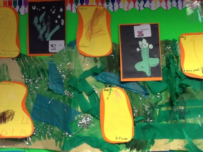 Green class created some snowdrops and flowers!