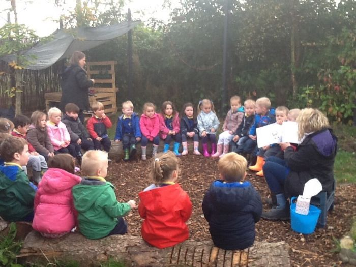 Story time in the wee wood.