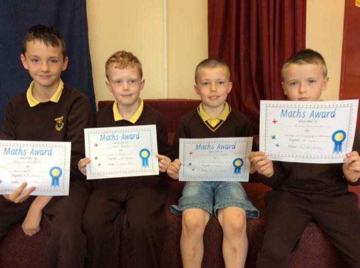 Maths Award.  Absent from photo: Dylan Small