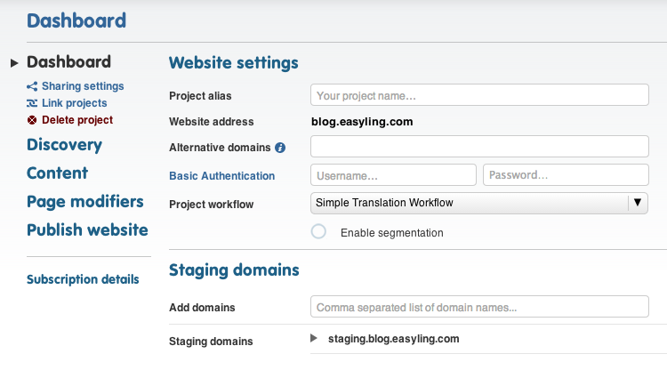 You can instruct Easyling to crawl your staging domain for new content before it is pushed out into the wild by entering your staging domain's URL(s) here.