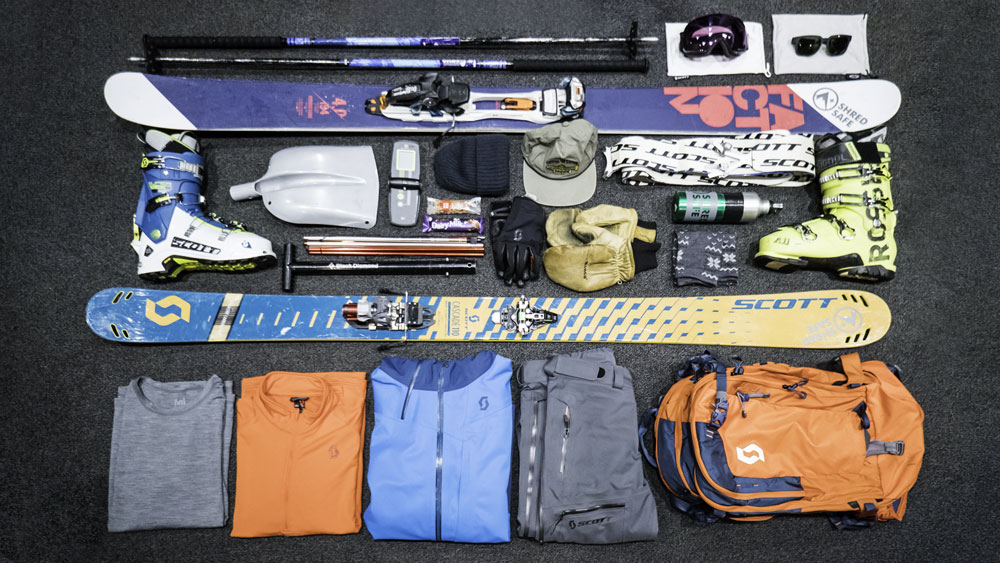 ski holiday packing list - flat lay of ski equipment