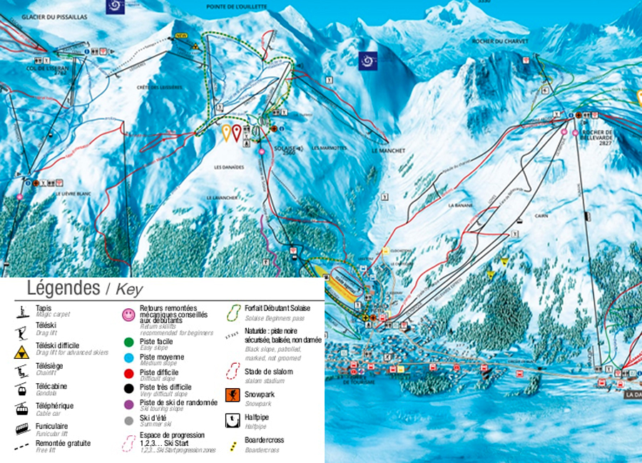 Close up of Val d'Isere piste map and legend