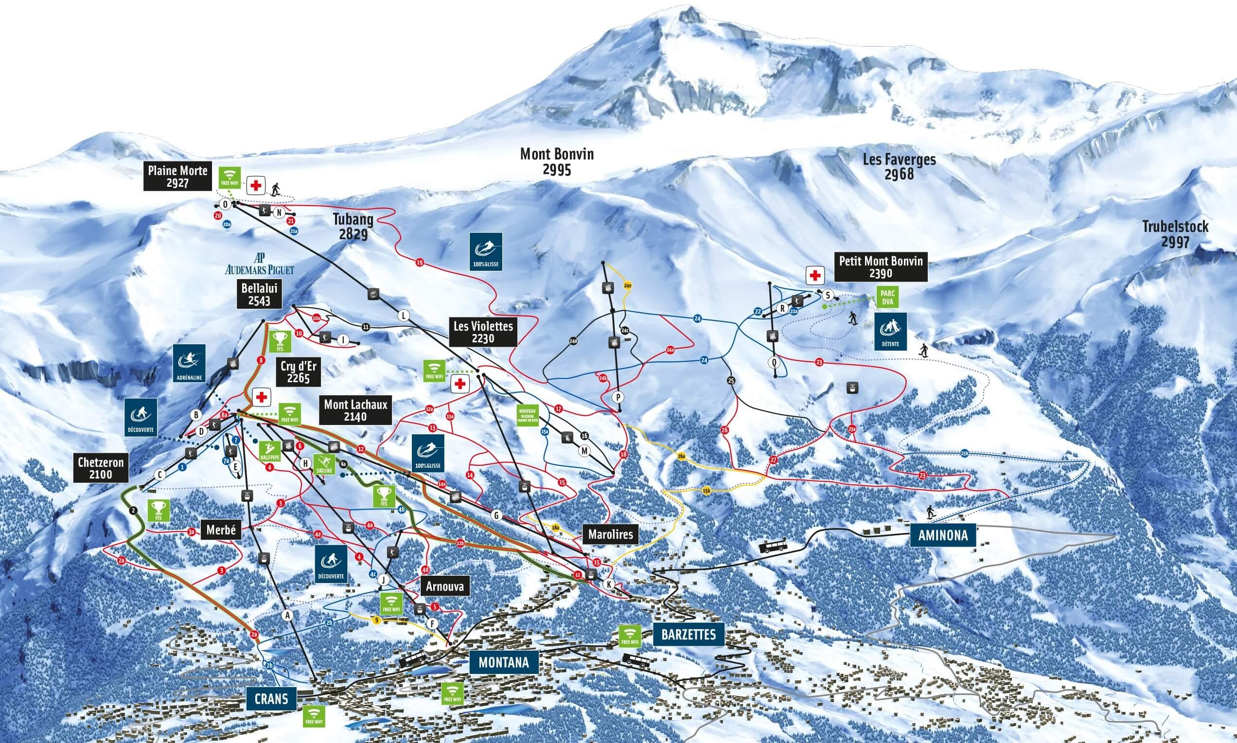 Crans Montana Piste Map 2019-2020