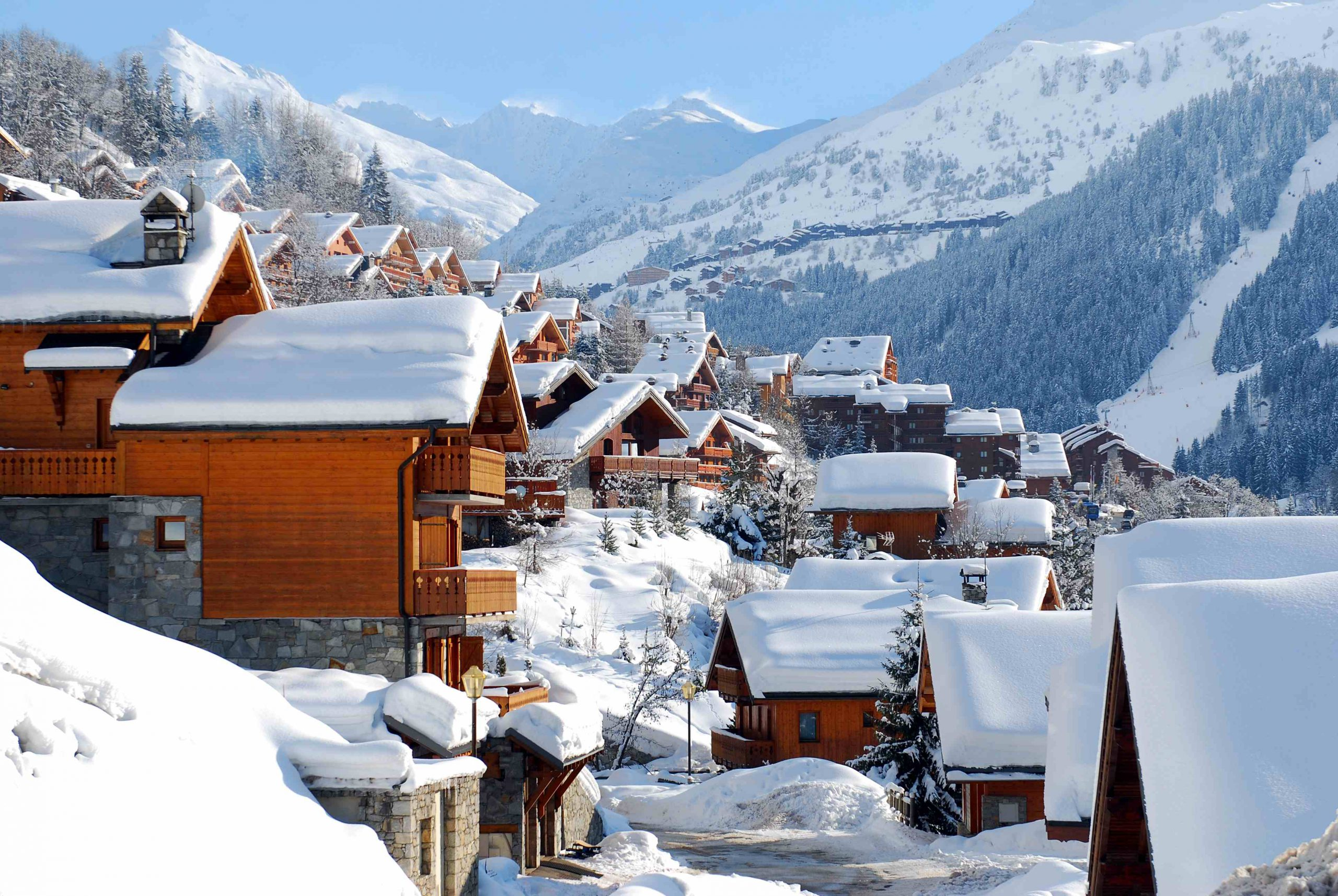 Snow covered chalets in Meribel