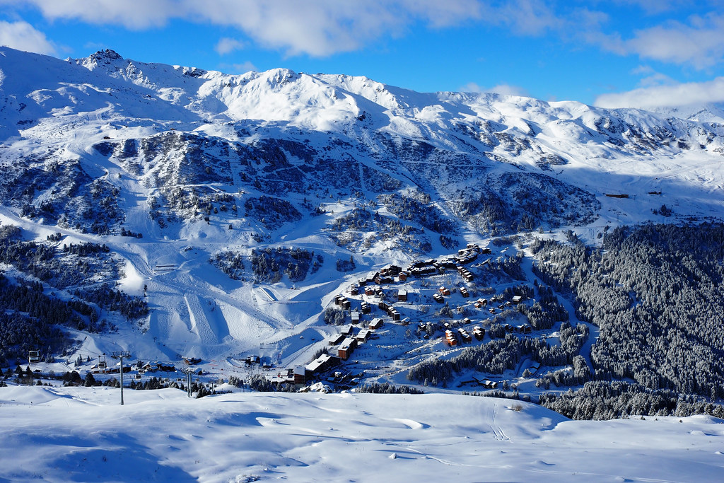 View of Meribel Mottaret and its ski slopes