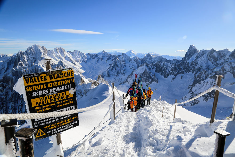 Entrance to the Vallee Blanche from the Aiguille du Midi in Chamonix