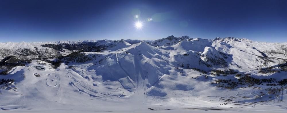 A fisheye, panoramic view of the Serre Chevalier ski area