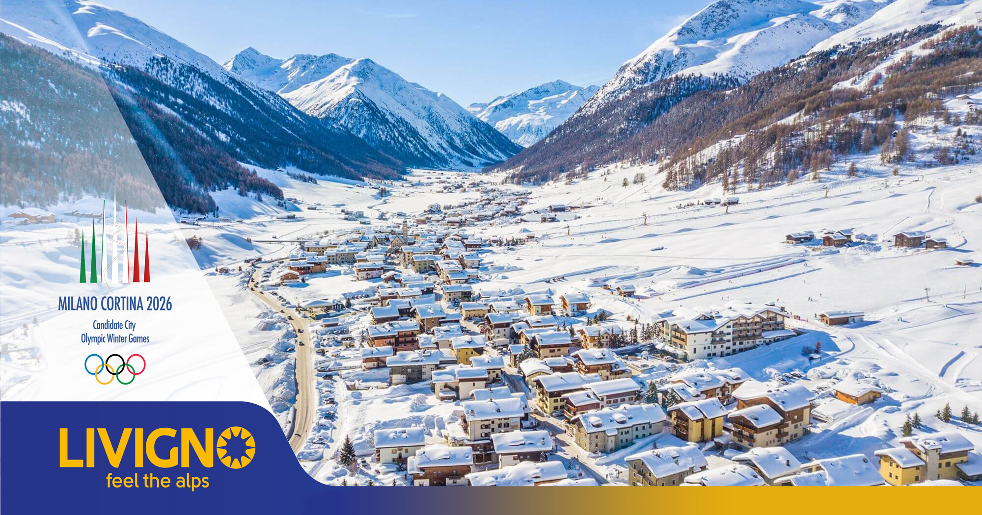 Promotional image of the village of Livigno with branding for the 2026 olympics