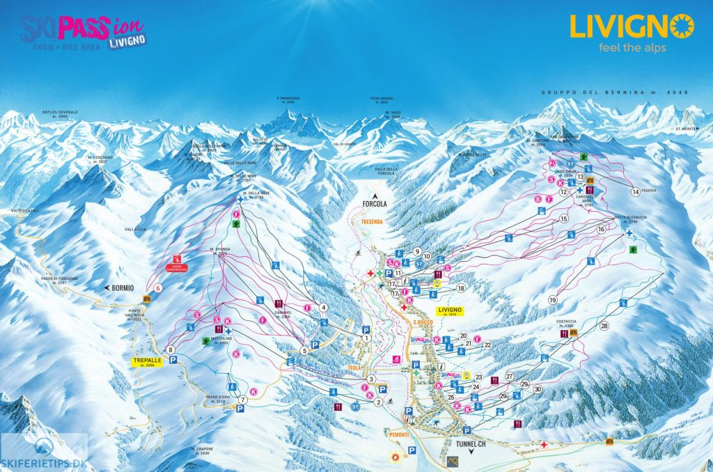high resolution piste map drawing of livigno ski area