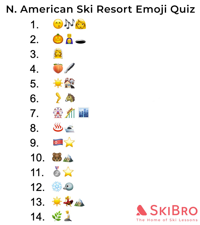 emoji quiz of 14 popular North American ski resorts
