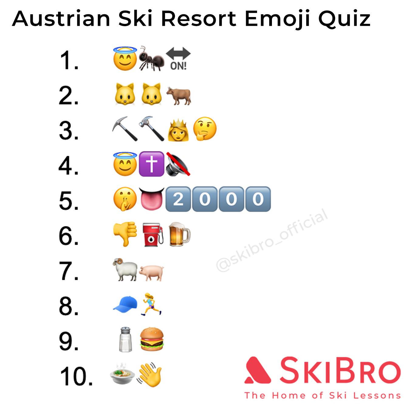 emoji quiz of 10 popular austrian ski resorts