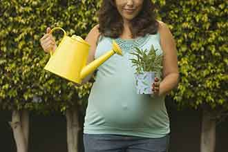 A pregnant woman watering a plant.