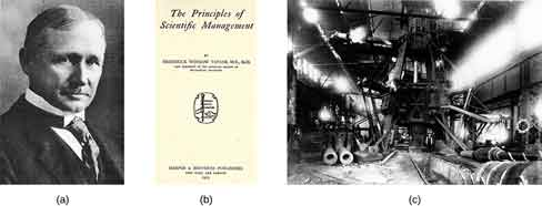 "Photograph A shows Frederick Taylor. Photograph B shows the cover of Taylor's book titled The Principles of Scientific Management. Across the top it reads ""The Principles of Scientific Management. Below that it says ""by Frederick Winslow Taylor, M.E., Sc.D. Past president of the American Society of Mechanical Engineers."" Below that is a picture of a hand passing a torch to another hand, with foreign lettering behind. At the bottom it reads ""Harper and Brothers Publishers. New York and London. 1919."" Photograph C shows a steam hammer."