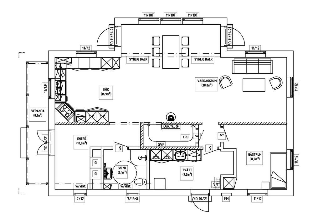 Villa Agder – planlösning entréplan