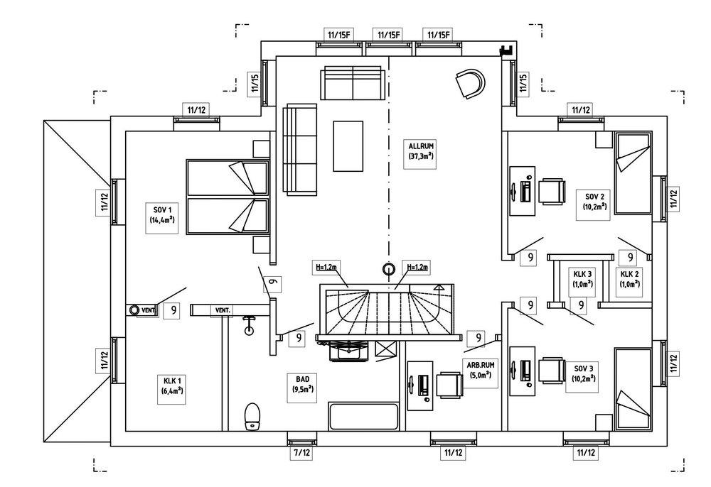 Villa Agder – planlösning överplan