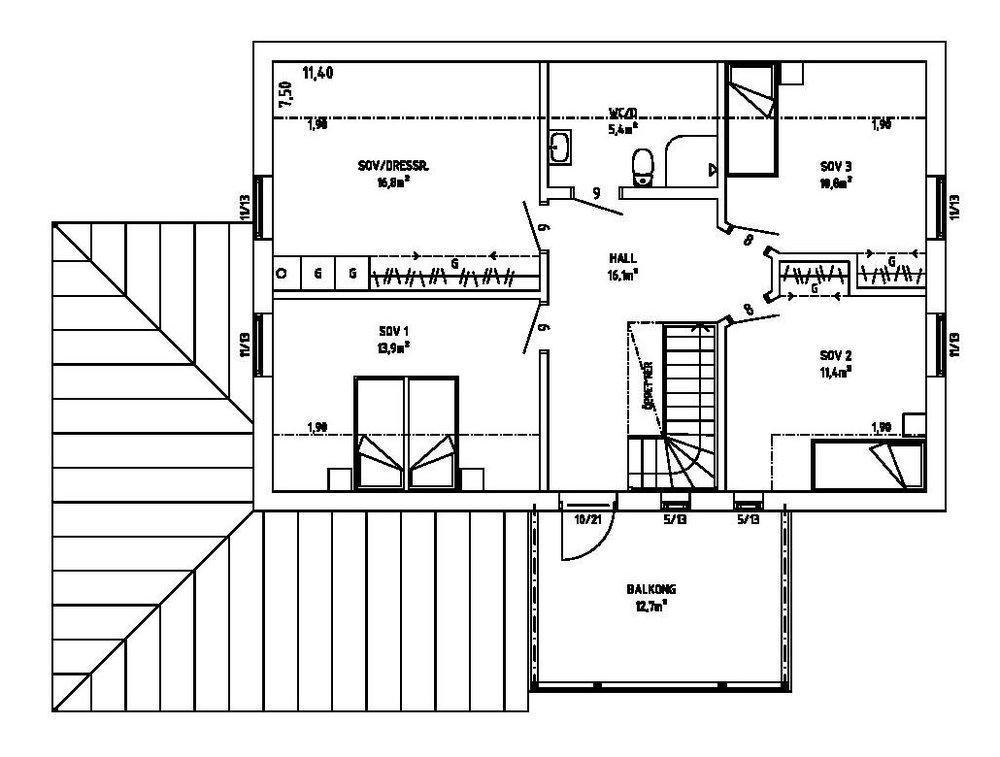 Villa Alsiö – planlösning överplan