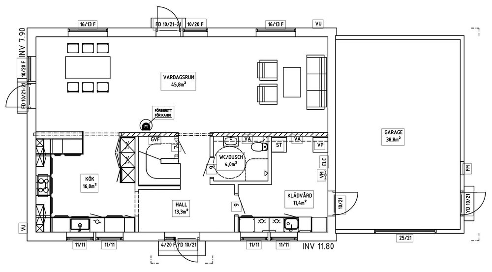 Villa Berling – planlösning entréplan