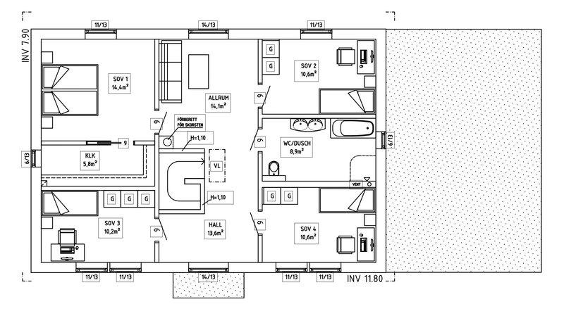 Villa Berling – planlösning överplan
