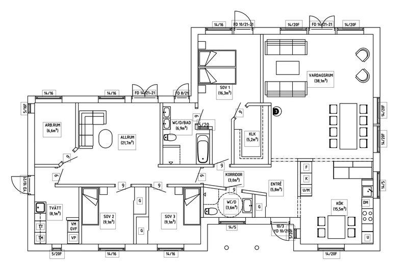 Villa Birgersson – planlösning