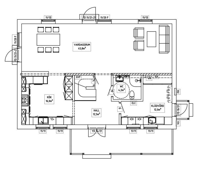 Villa Dahlstrand – planlösning entréplan