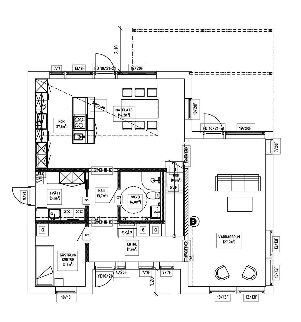 Villa Elofsson – planlösning våning 1