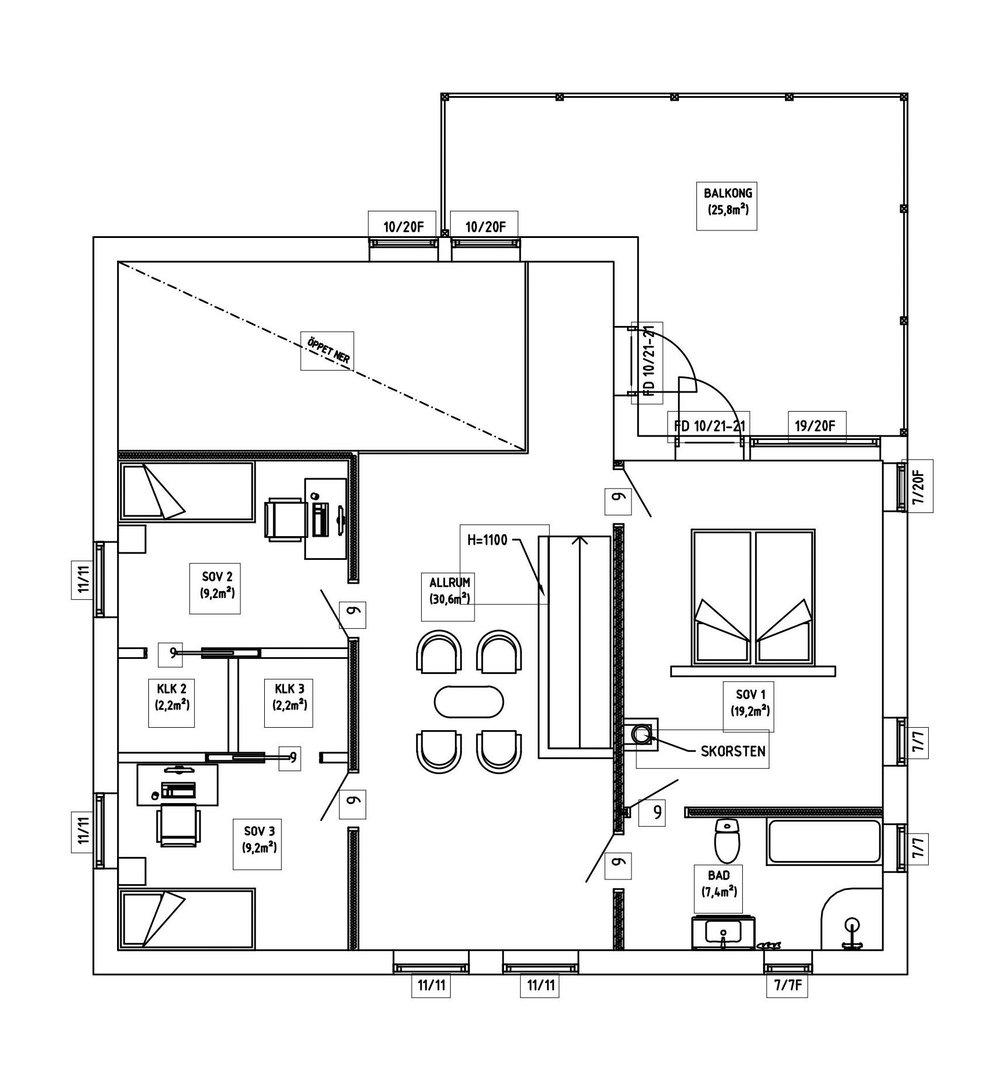 Villa Elofsson – planlösning våning 2