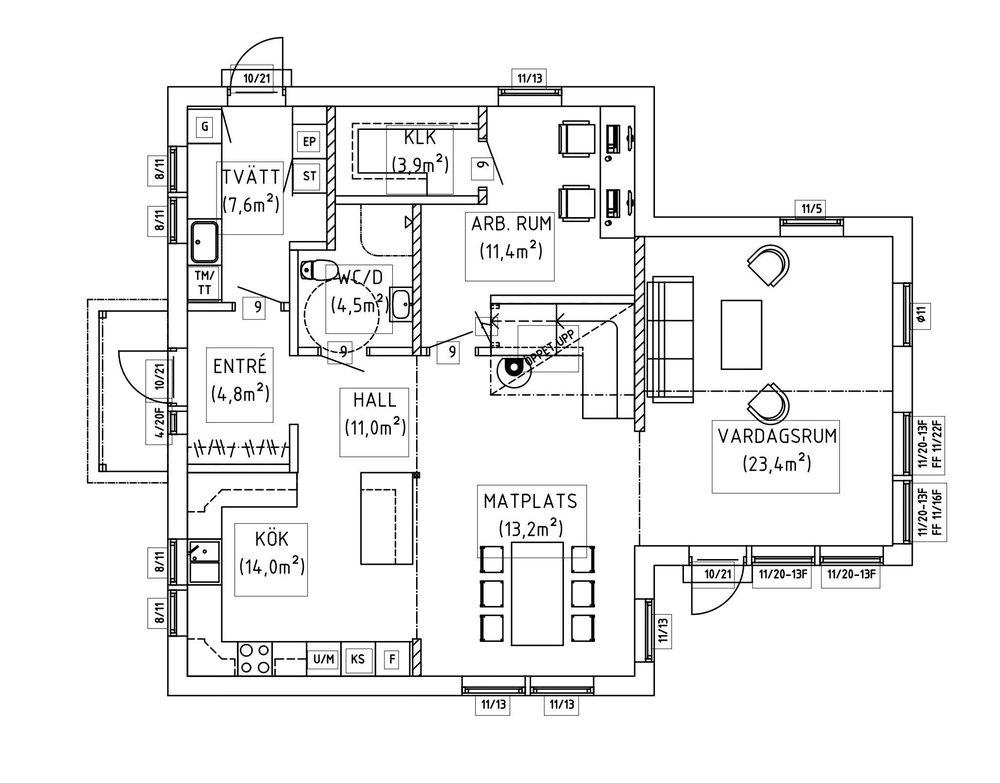 Villa Hansson – planlösning entréplan