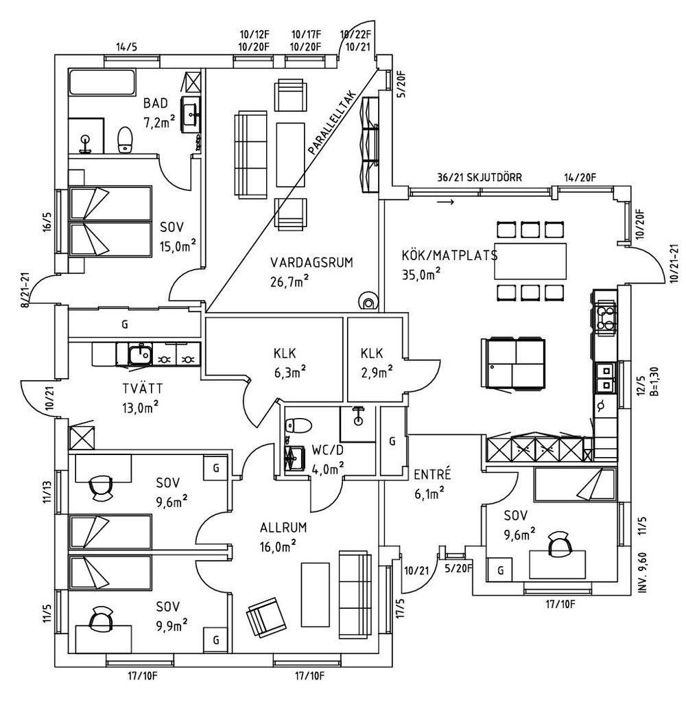 Villa Blixt planlösning