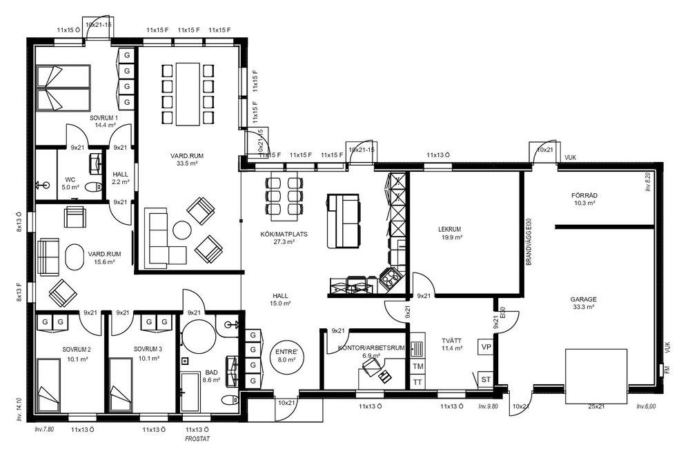 Villa Larsson planritning