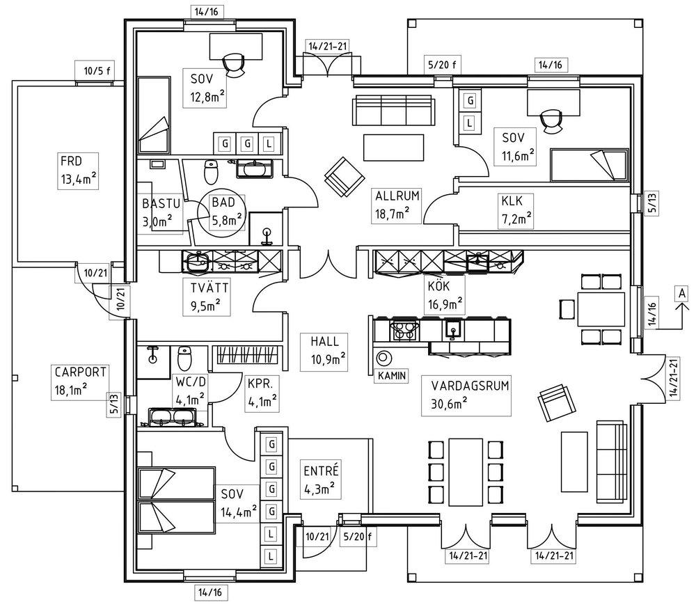 Villa Nyström – planlösning