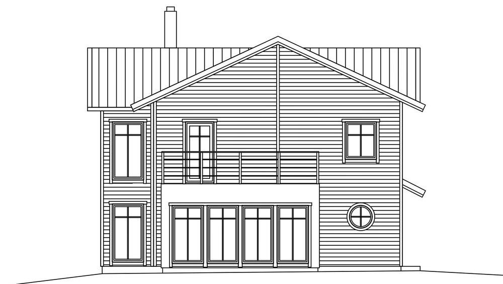 Villa Olsson – fasad 2 uterum med balkong över