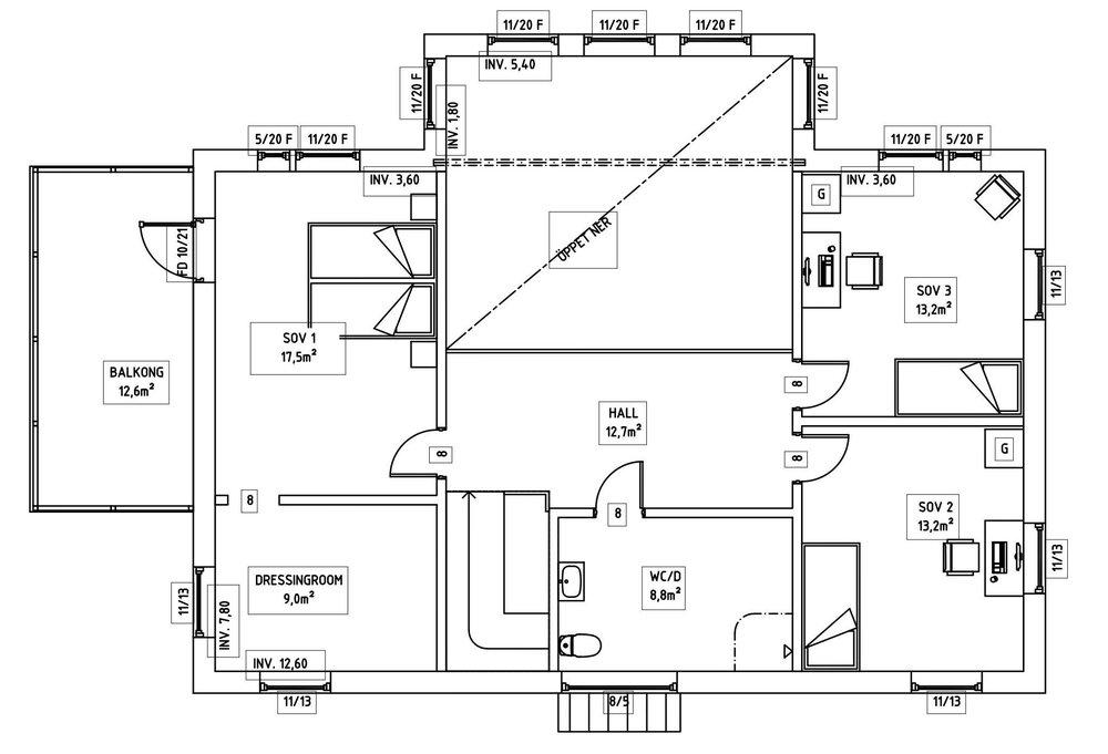 Villa Olsson – planlösning överplan