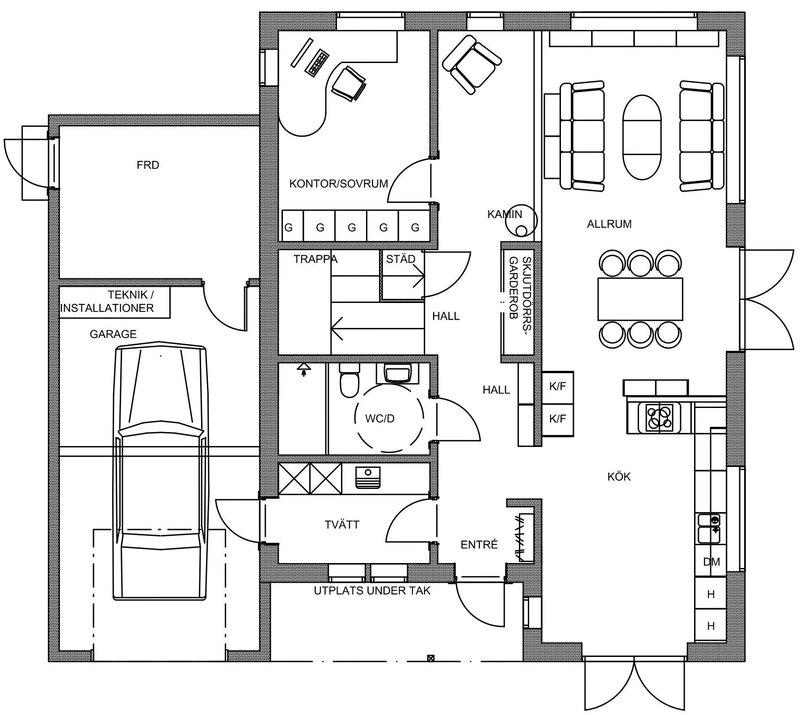 Villa Rånes – planlösning entréplan
