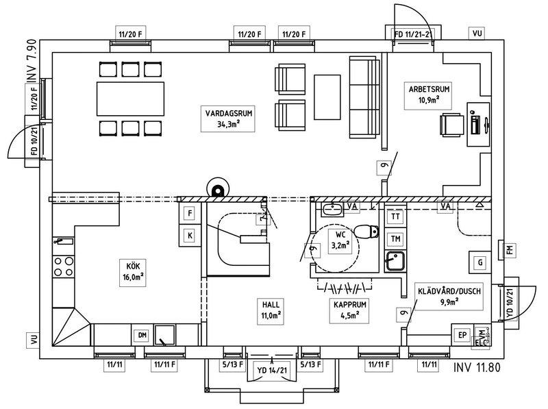 Villa Sandén – planlösning entréplan