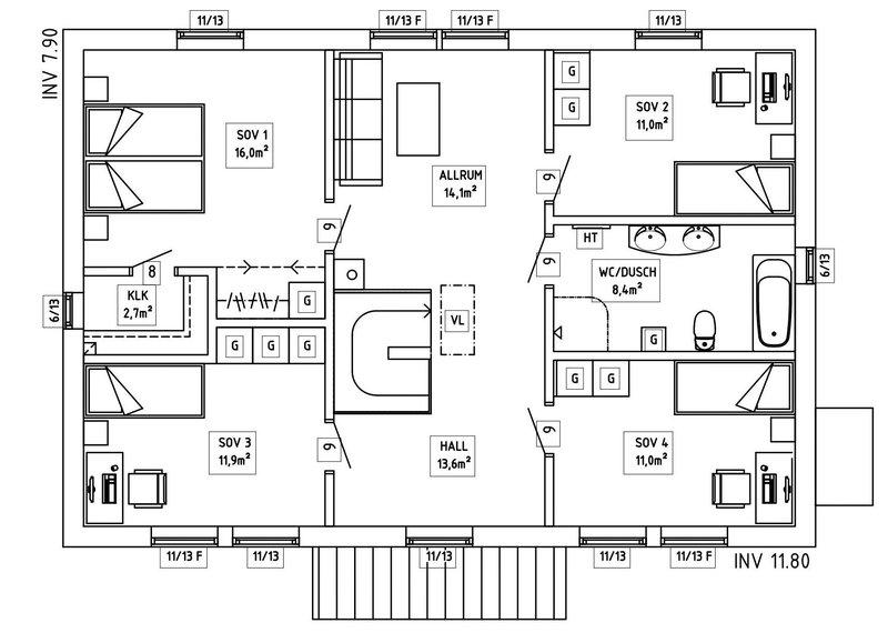 Villa Sandén – planlösning överplan