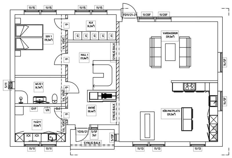 Villa Söderlund – planlösning entréplan