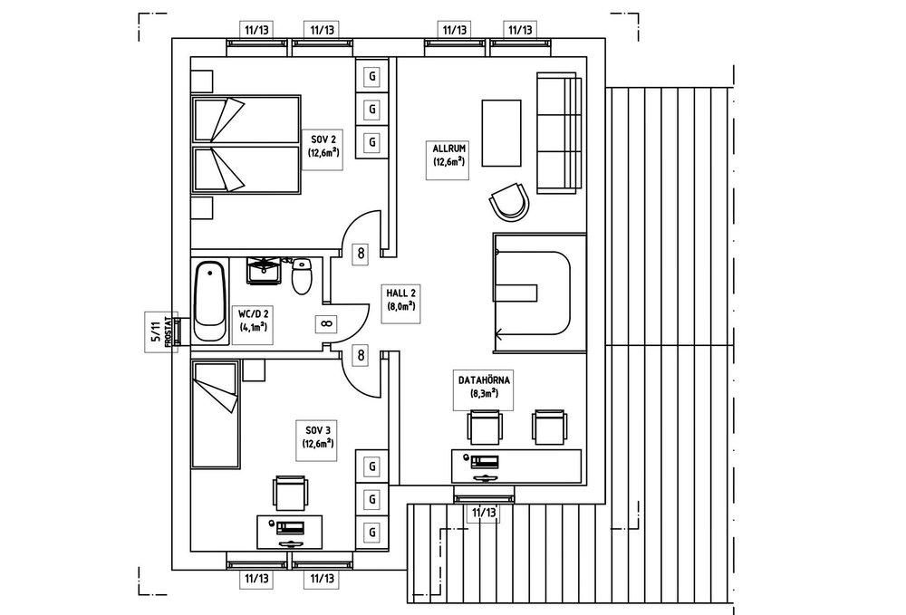 Villa Söderlund – planlösning överplan