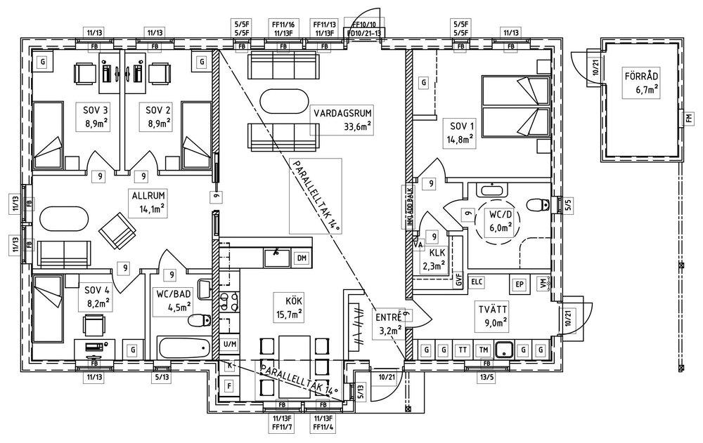 Villa Wikerud – planlösning