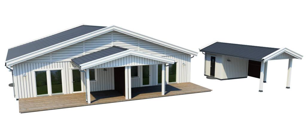 Parhuset där varje husdel har en carport med föråd