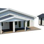 Parhuset där varje husdel har en carport med förråd
