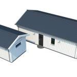 Överblick av singelhuset och carport