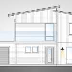 Villa Rånes, funkishus med inbyggt garage med soldäck på taket