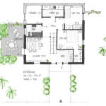 Planlösning, entreéplan - Sluttningshus Villa Skövde från Skövdevillan
