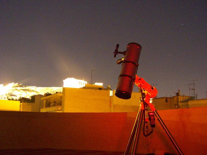 Skywatcher telescope set up with Acropolis at the backround